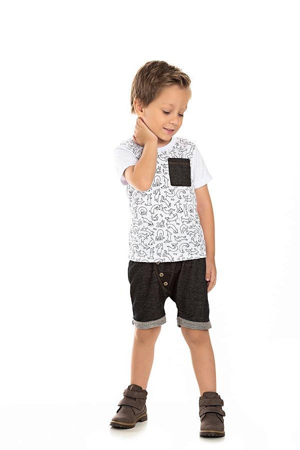 Kit 3 Camisetas Meia Malha Cachorrinhos com Bolso 1 a 3