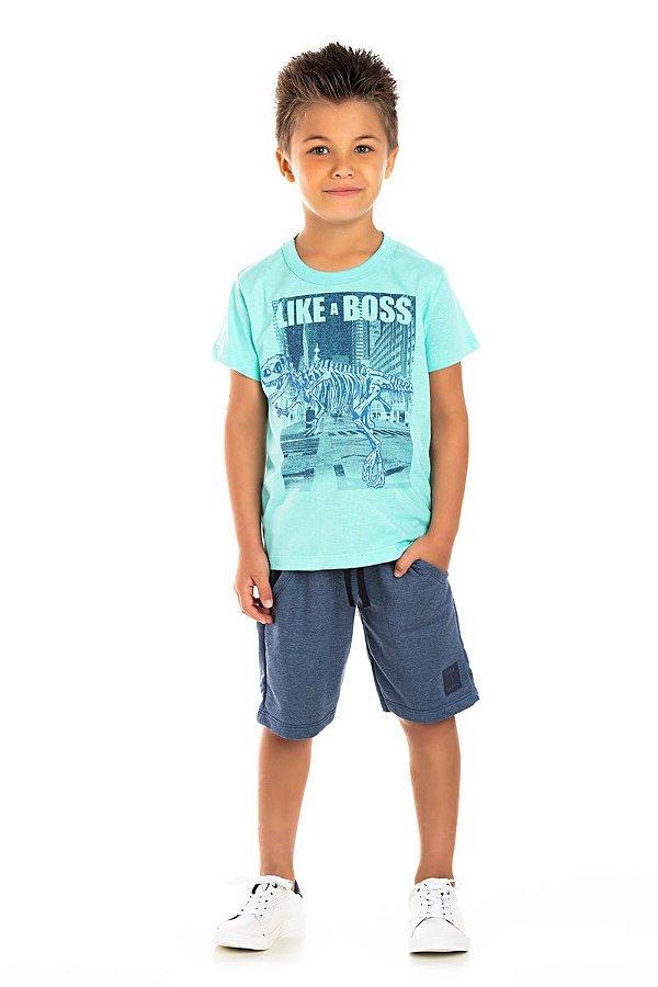 Kit 3 Camisetas Meia Malha Like a Boss 4 a 8