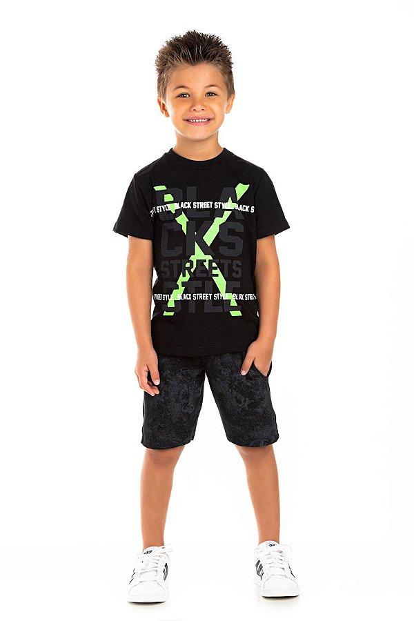Kit 3 Camisetas Meia Malha X Neon 4 a 8