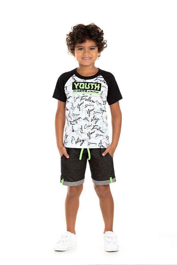 Kit 3 Camisetas Meia Malha Neon com Manga Raflan 4 a 8