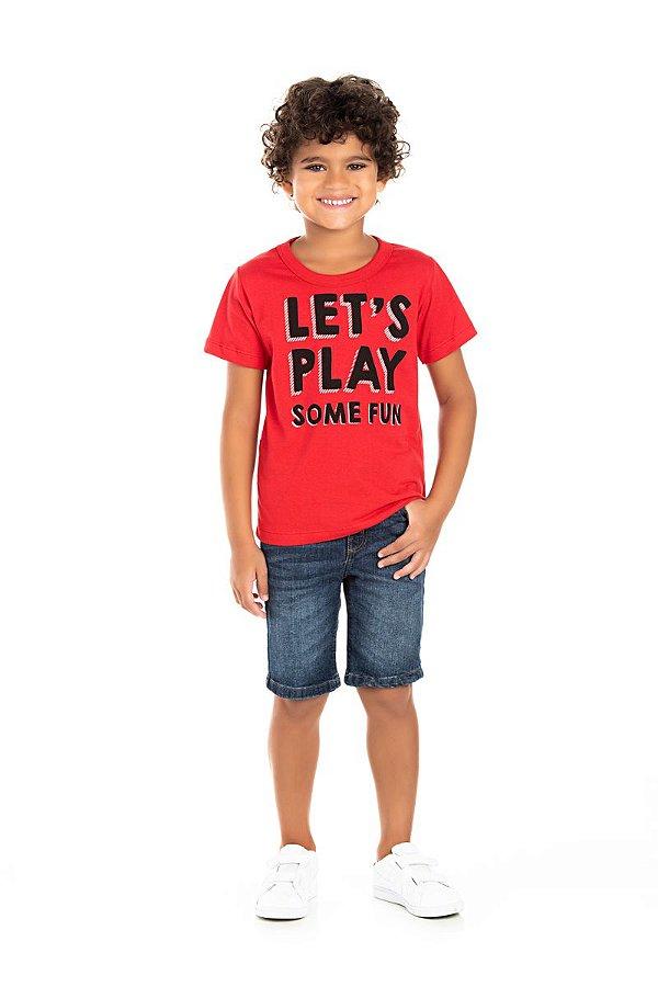Kit 3 Camisetas Meia Malha Play Estampa Frente e Costas 4 a 8