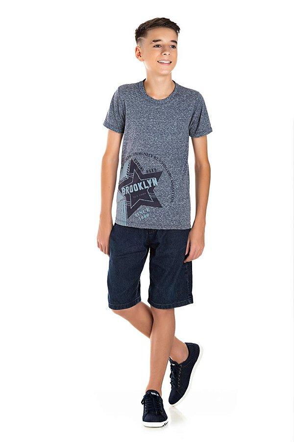 Kit 3 Camisetas Meia Malha Brooklyn 10 a 14