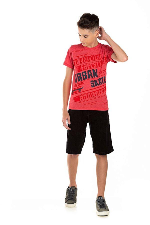 Kit 3 Camisetas Meia Malha Estampa nas Costas 10 a 14
