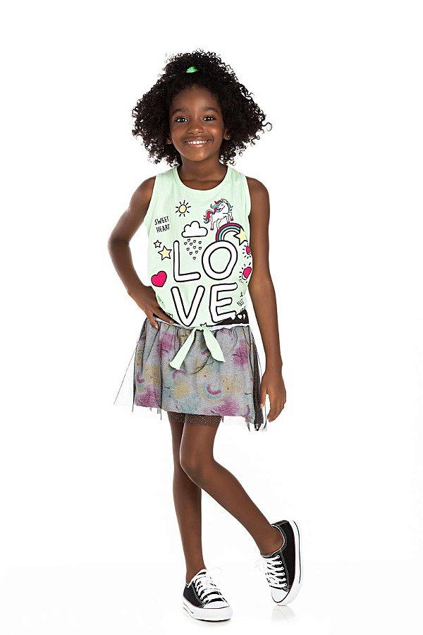 Kit 3 Shorts Saia Tule Glitter e Meia Malha Arco Íris 4 a 8
