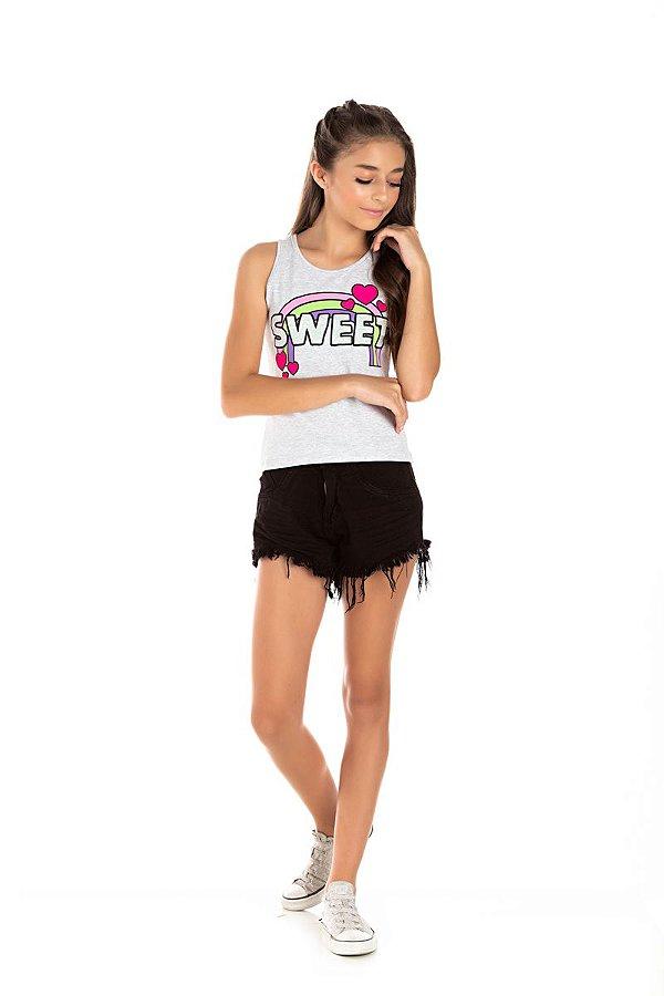 Kit 3 Regatas Cotton Sweet Glitter 10 a 14