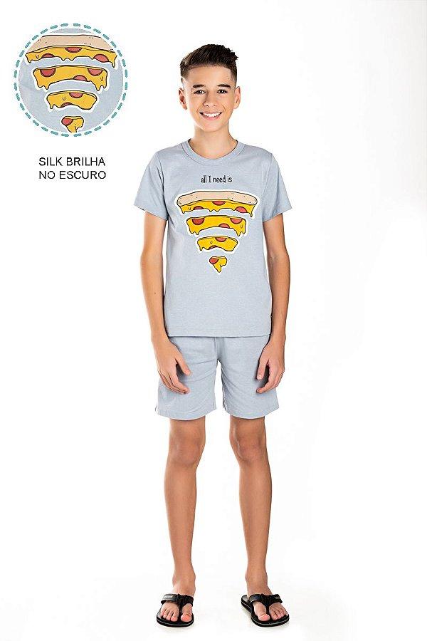 Kit 3 Pijamas Meia Malha Brilha no Escuro Wifi Pizza 10 a 14