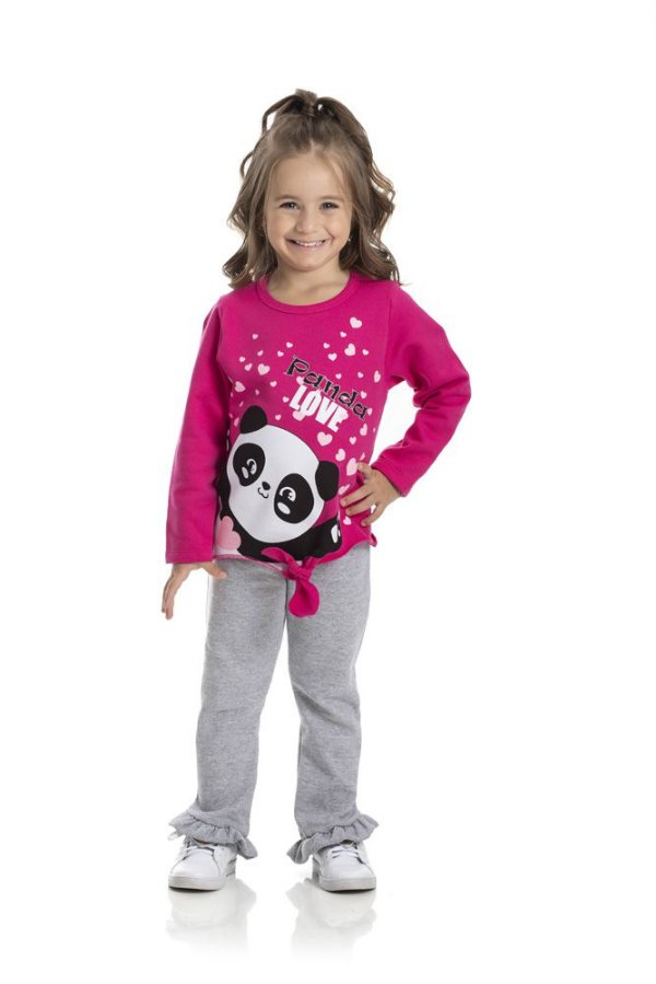 Kit 3 Conjuntos Moletom Panda 1 a 3