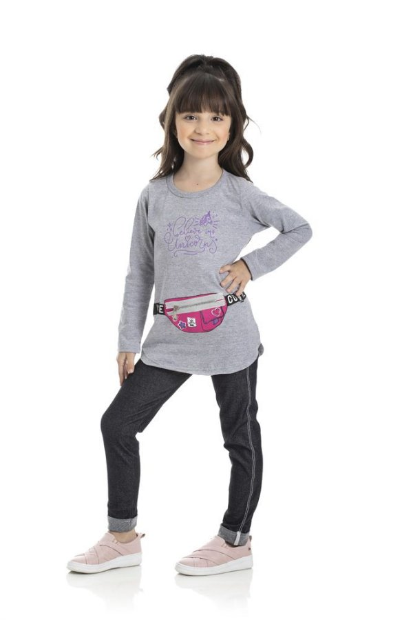 Kit 3 Leggings Cotton Jeans Fita Marmorizada 4 a 8