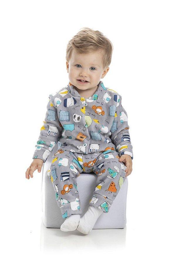 Kit 3 Pijamas Macacão Soft Menino P a G