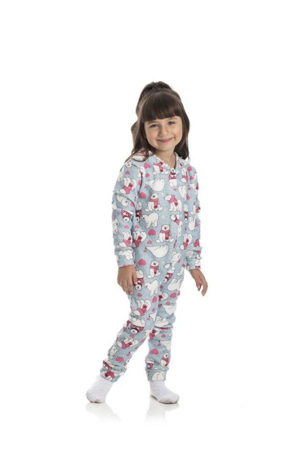 Kit 3 Pijamas Macacão Soft Menina 1 a 3