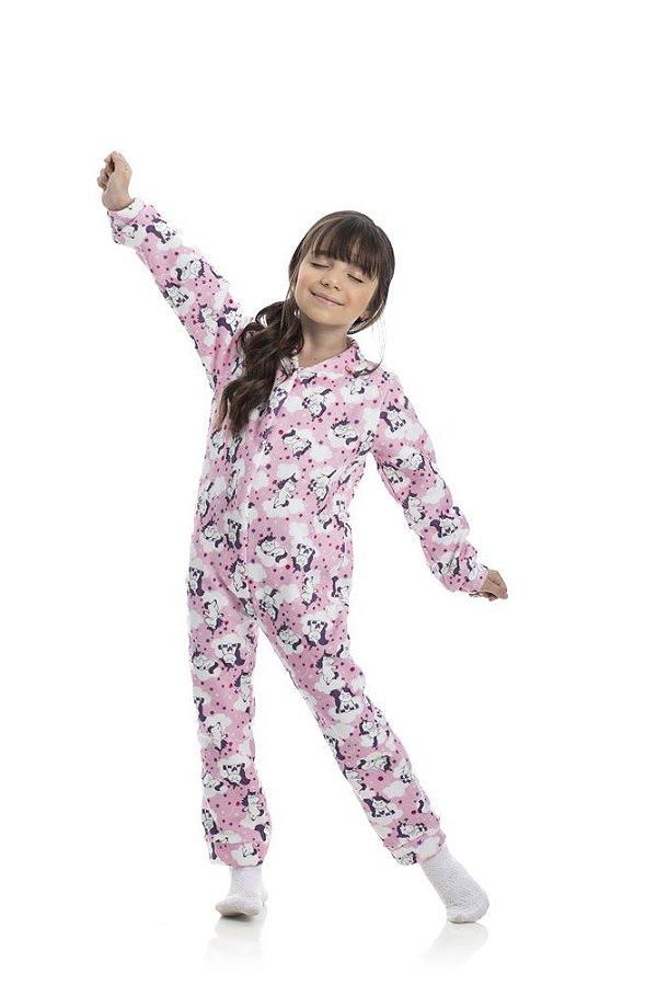 Kit 3 Pijamas Macacão Soft Menina 4 a 8