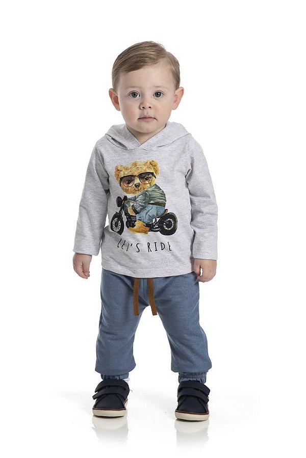 Kit 3 Calças Moletinho Jeans com Cadarço P a G