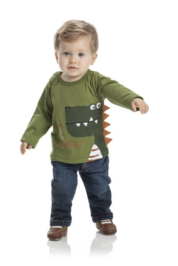 Kit 3 Camisetas Dino com Aplique P a G