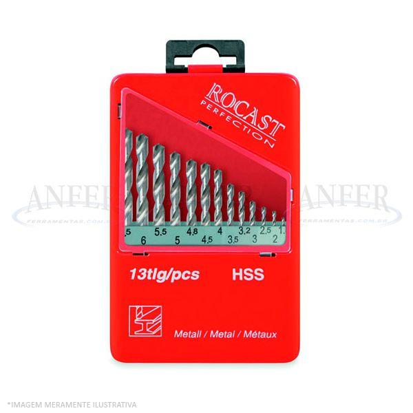 Jogo de Brocas Haste Paralela DIN338 HSS 13 Peças - 1,5 a 6,5mm