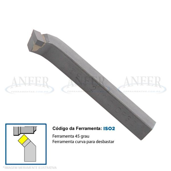 Ferramenta Soldada Curva 45° Facear ISO 5 2020 EP30 Esquerda