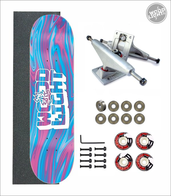 Skate Wood Light Amador Completo Liquid Blue/Pink