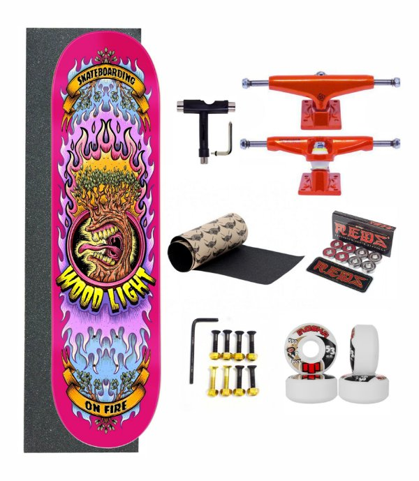Skate Profissional Wood Light Completo - On Fire Pink