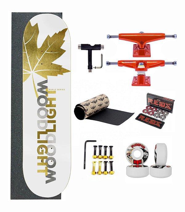 Skate Profissional Wood Light Completo - Leaves Gold