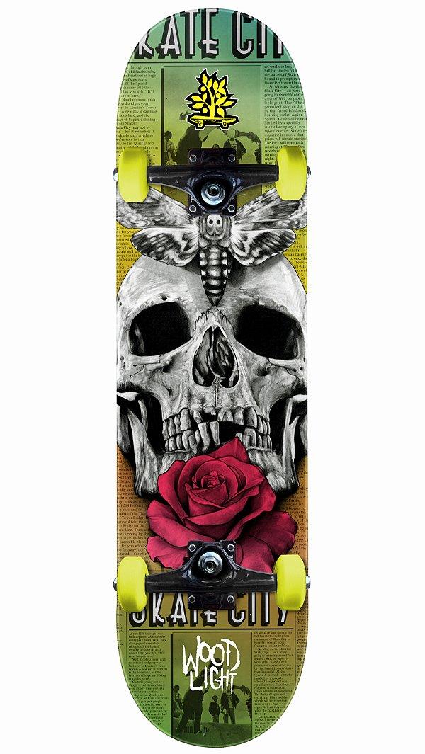 Skate Wood Light Flower Skull