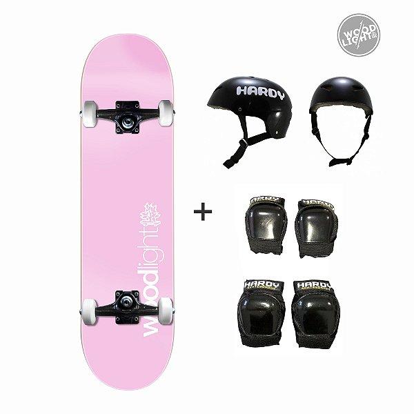 Skate Wood Light Completo + Kit de Proteção - Basic Rosa