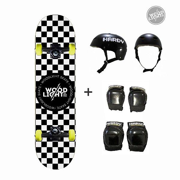 Skate Wood Light + Kit de Proteção - Quadriculado