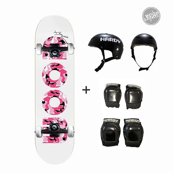 Skate Wood Light + Kit de Proteção - Army Pink