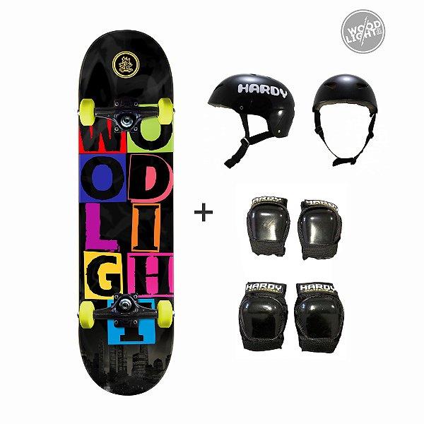 Skate Wood Light Completo + Kit de Proteção - Urban City