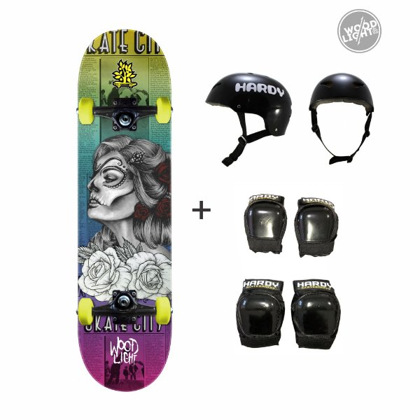 Skate Wood Light Completo + Kit de Proteção - Andrômeda