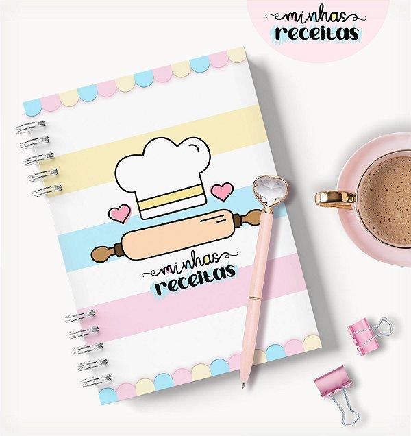 Caderno de Receitas Fofo Colorido