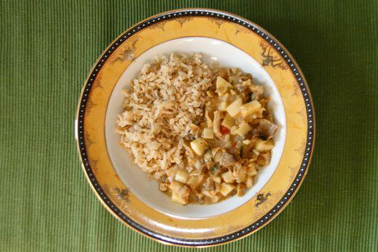 29 - Estrogonofe de palmito com shimeji e arroz integral - refeição congelada