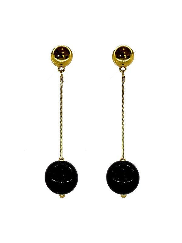 Brinco Preto - Berries Clássico Dourado