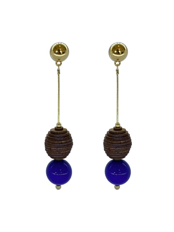 Brinco Azul Clássico - Wood Berries Dourado