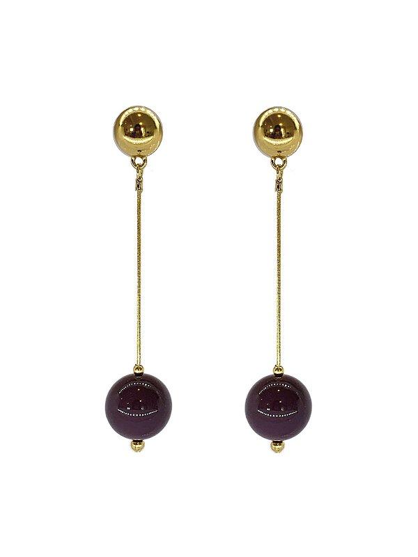 Brinco Ameixa - Berries Clássico Dourado