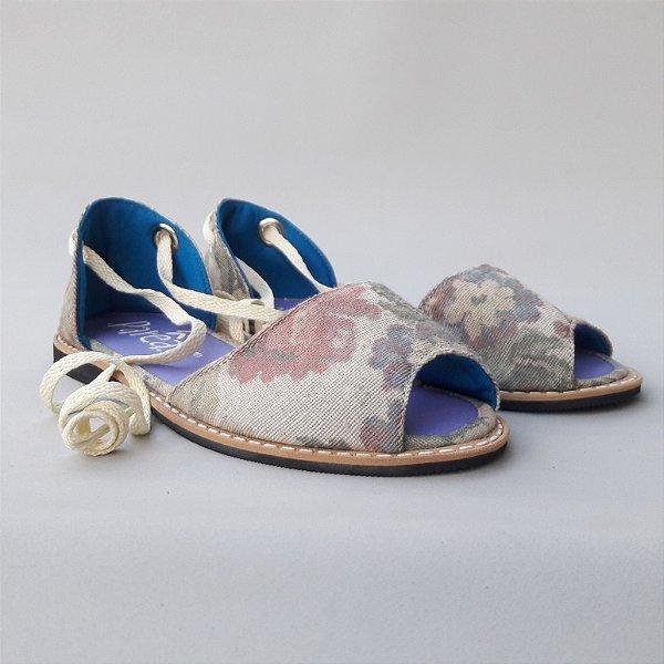 Sandália Parêa | Catraia Aberta - Floral Branca