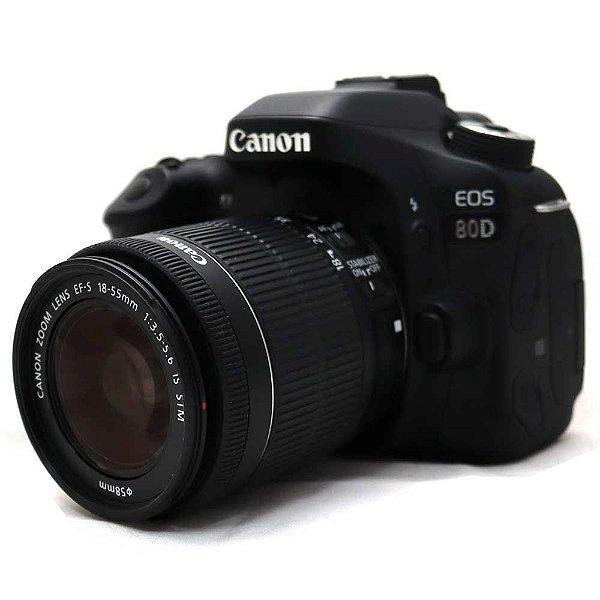 Câmera Canon EOS 80D com Lente 18-55mm IS STM Seminova