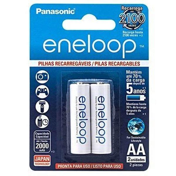 Pilha Recarregável AA Panasonic Eneloop 2000mah com 2 Unidades