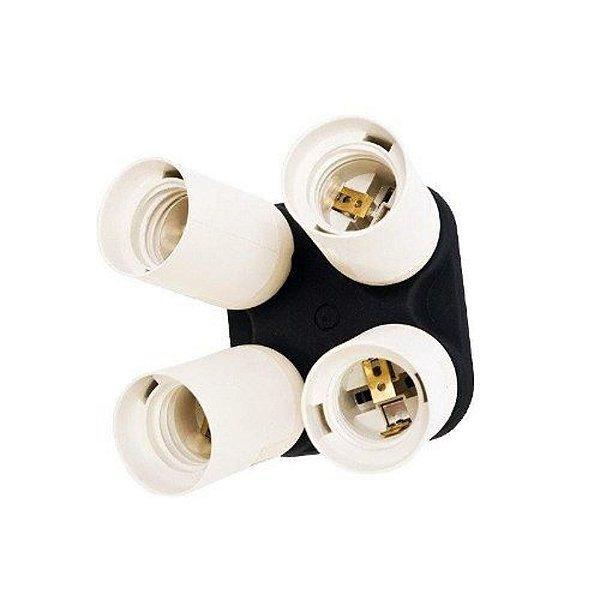 Soquete Quadruplicador Greika YL-108 para Lâmpada Rosca E27