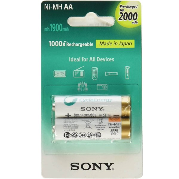 Pilha Recarregável AA Sony 2000mah com 2 Unidades