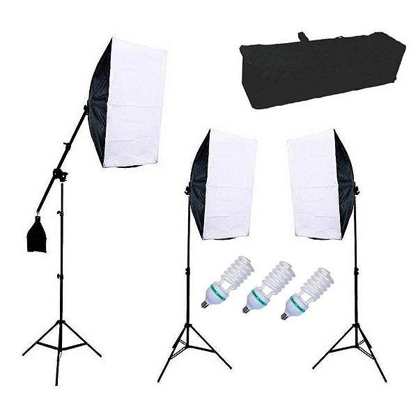 Kit de Iluminação Greika PK-SB04 Retangular 50x70cm com Girafa e Lâmpada 135w 110v
