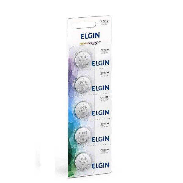 Bateria Elgin CR2016 3v com 5 Unidades