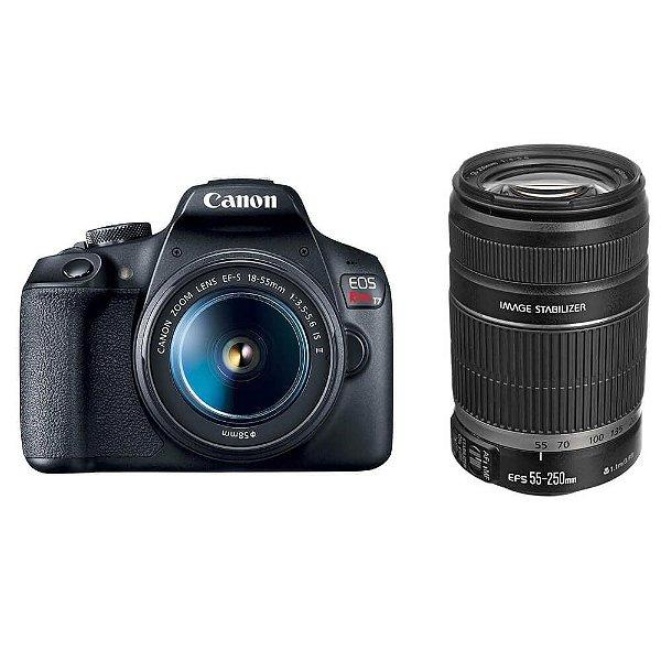 Câmera Canon EOS Rebel T7+ Kit Premium com Lentes 18-55mm e 55-250mm
