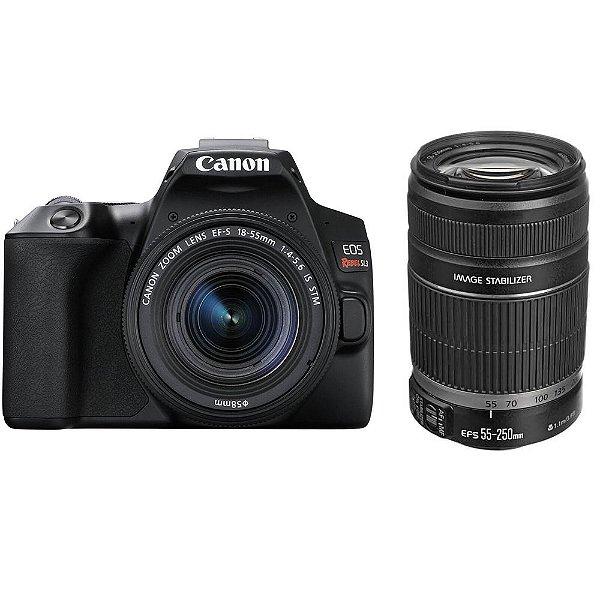 Câmera Canon EOS Rebel SL3 Kit Premium com Lentes 18-55mm e 55-250mm