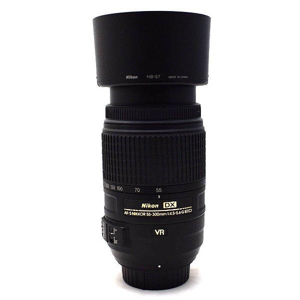 Lente Nikon AF-S 55-300mm f/4.5-5.6G DX ED VR com Parasol Usada