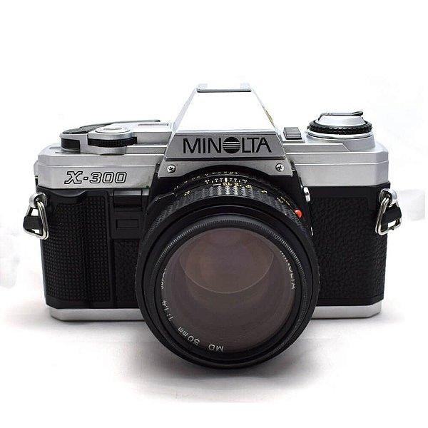 Câmera Analógica Minolta X-300 com Lente MD 50mm 1.4 Usada