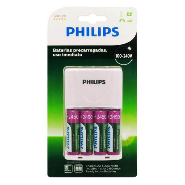 Carregador de Pilha Philips SCB2445NB com 4 pilhas 2450mah