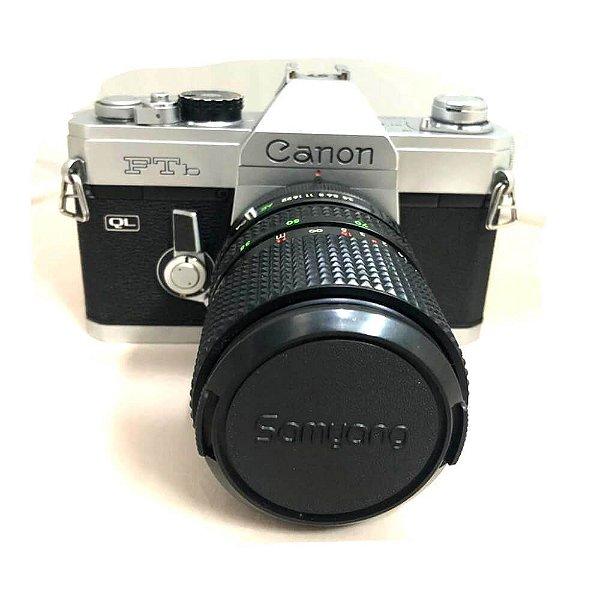 Câmera Analógica Canon FTB QL com Lente Samyang 35-70mm FD Usada