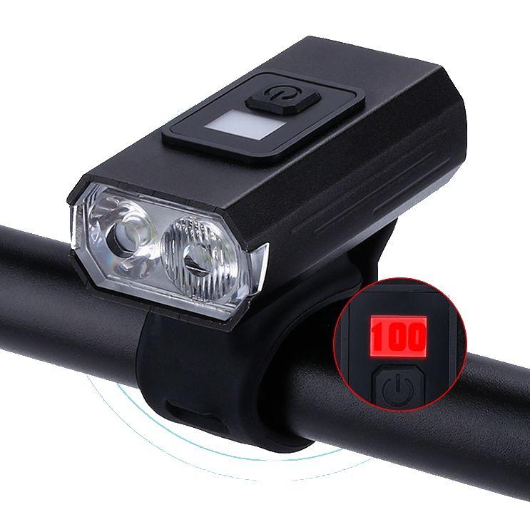 Farol Lanterna Bike 2 Led Cree T6 Recarregável Usb Medidor