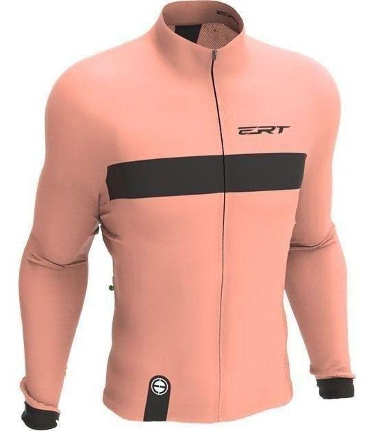 Camisa Manga Longa Ciclismo Ert New Tour Strip Salmon Mtb