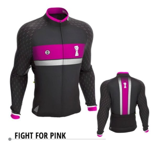 Camisa Manga Longa Ciclismo Ert Fight For Pink Ziper Full