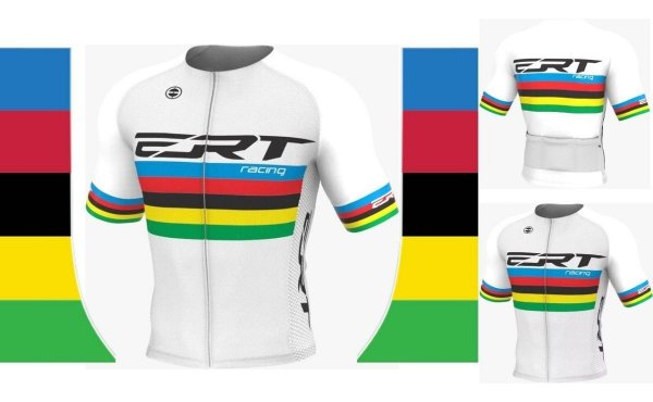 Camisa Elite Ert Campeão Mundial Ciclismo Branca Slim Fit